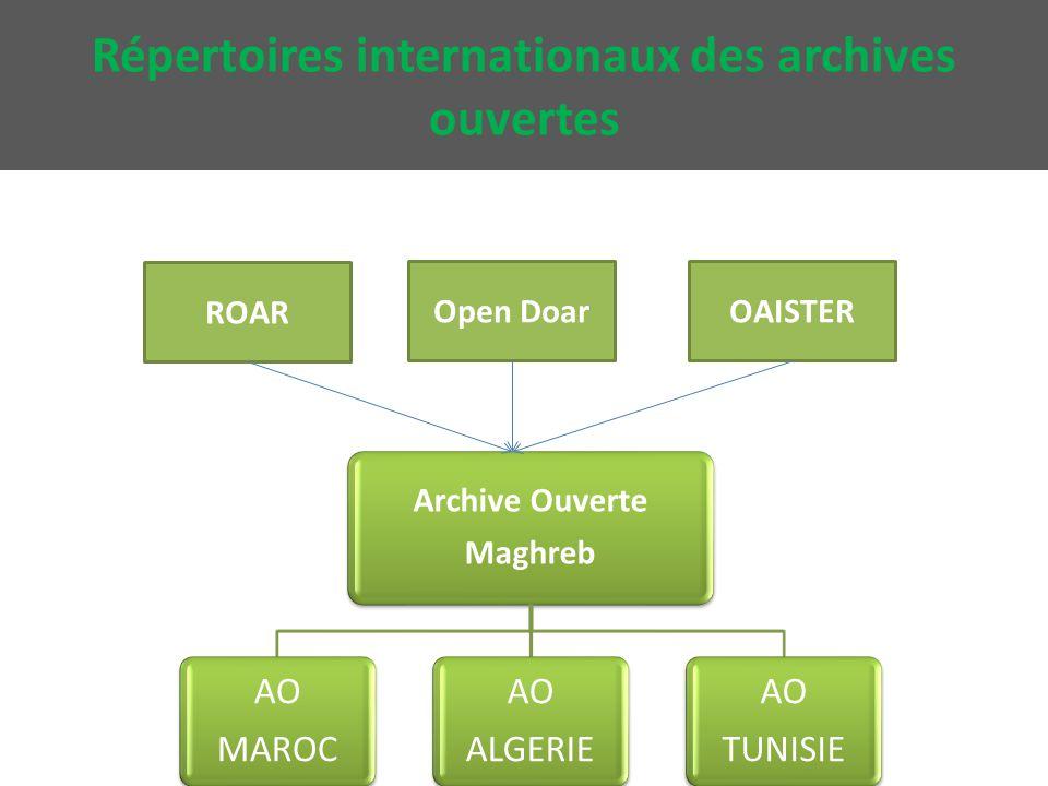 Répertoires internationaux des archives ouvertes Archive Ouverte Maghreb AO MAROC AO ALGERIE AO TUNISIE ROAR Open DoarOAISTER