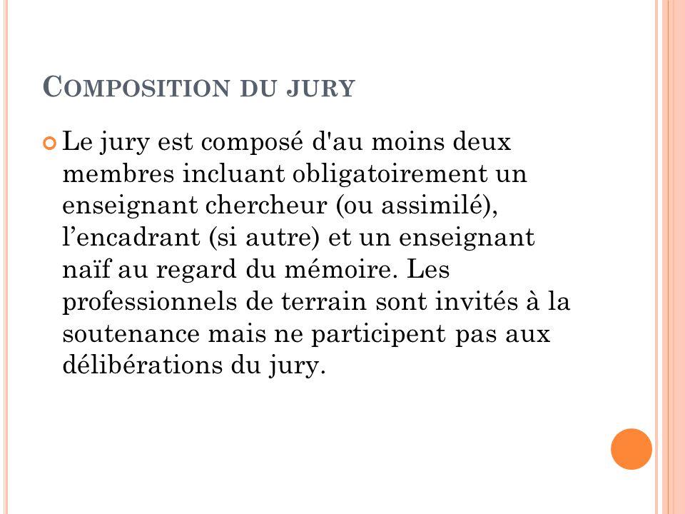 C OMPOSITION DU JURY Le jury est composé d'au moins deux membres incluant obligatoirement un enseignant chercheur (ou assimilé), l'encadrant (si autre