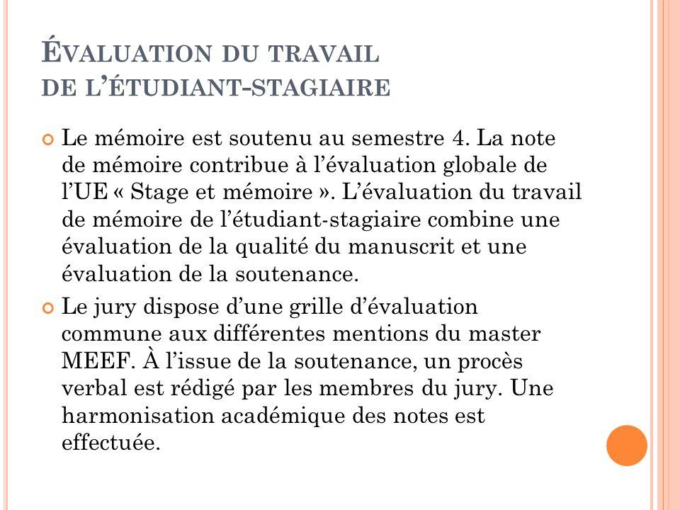 É VALUATION DU TRAVAIL DE L ' ÉTUDIANT - STAGIAIRE Le mémoire est soutenu au semestre 4. La note de mémoire contribue à l'évaluation globale de l'UE «