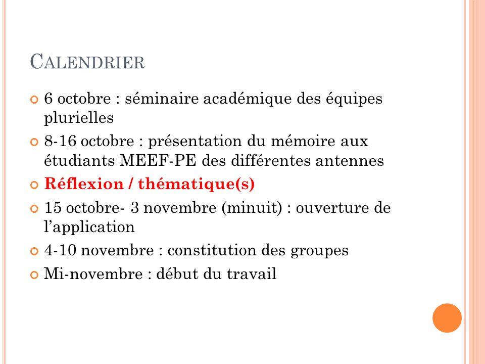 C ALENDRIER 6 octobre : séminaire académique des équipes plurielles 8-16 octobre : présentation du mémoire aux étudiants MEEF-PE des différentes anten