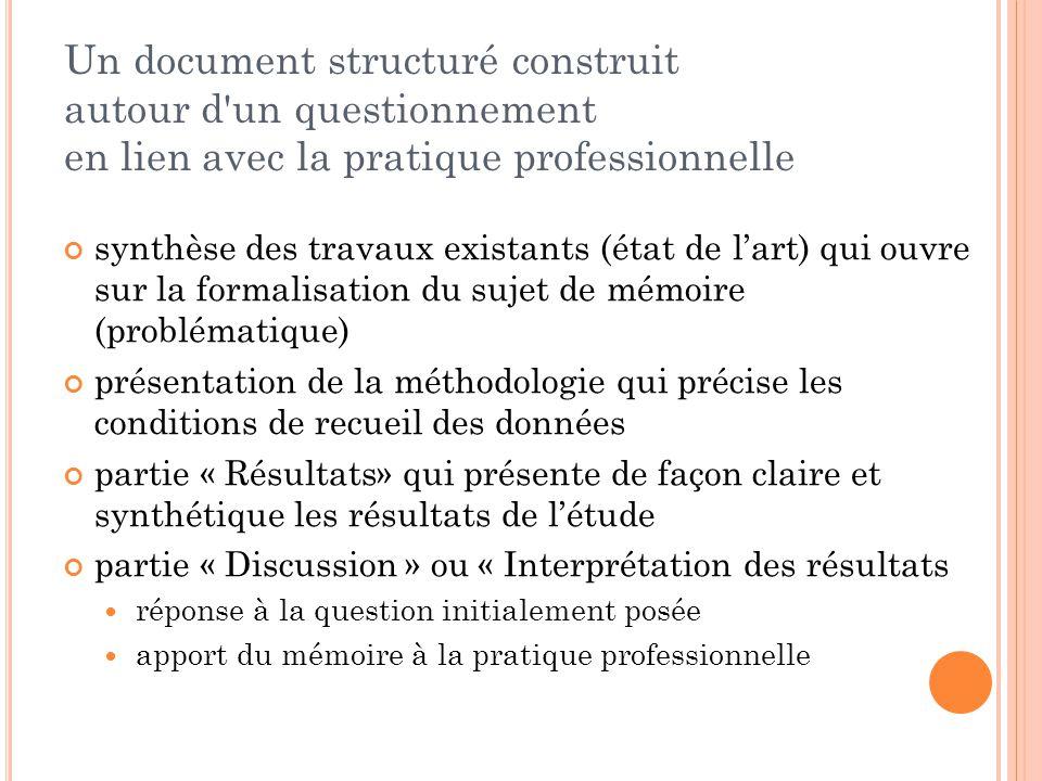 Un document structuré construit autour d'un questionnement en lien avec la pratique professionnelle synthèse des travaux existants (état de l'art) qui