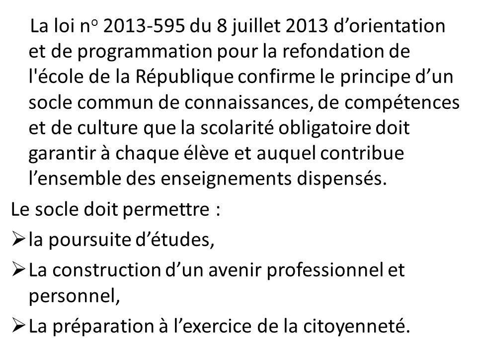 La loi n o 2013-595 du 8 juillet 2013 d'orientation et de programmation pour la refondation de l'école de la République confirme le principe d'un socl