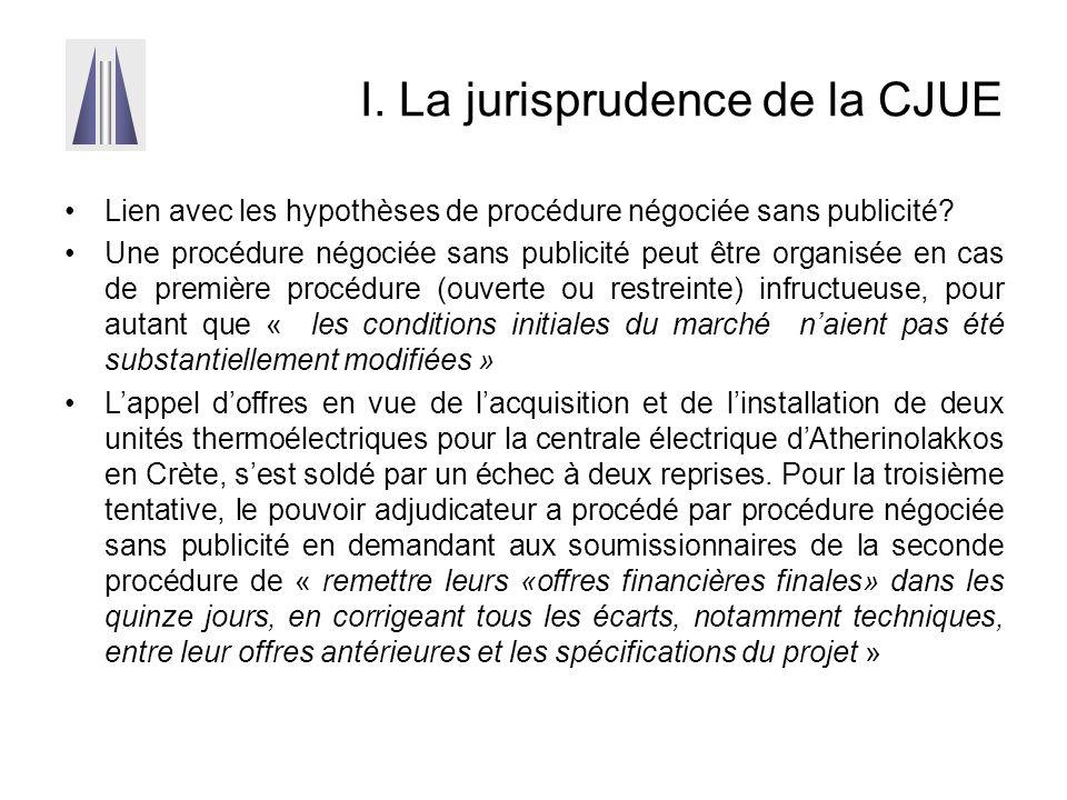 I. La jurisprudence de la CJUE Lien avec les hypothèses de procédure négociée sans publicité? Une procédure négociée sans publicité peut être organisé