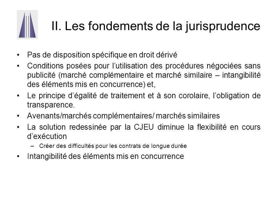 II. Les fondements de la jurisprudence Pas de disposition spécifique en droit dérivé Conditions posées pour l'utilisation des procédures négociées san