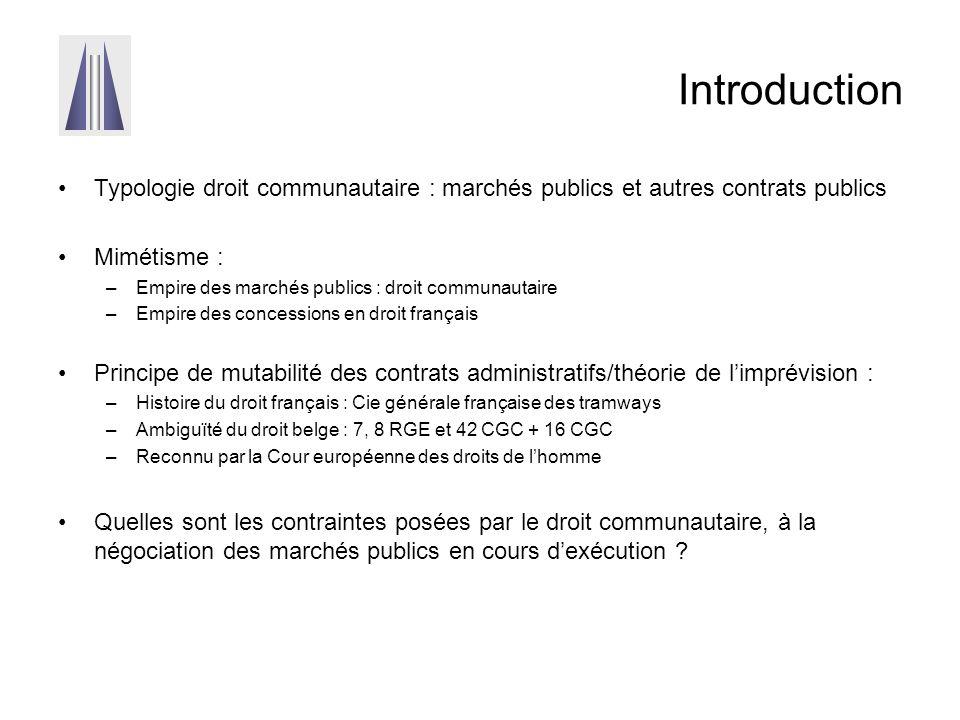 Introduction Typologie droit communautaire : marchés publics et autres contrats publics Mimétisme : –Empire des marchés publics : droit communautaire