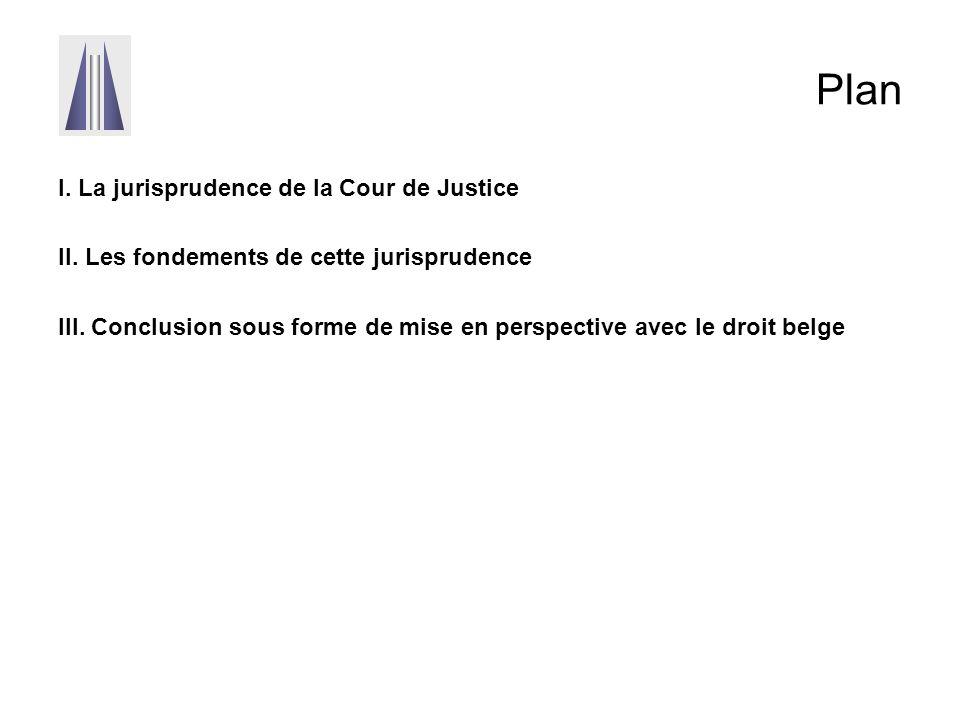 Plan I. La jurisprudence de la Cour de Justice II. Les fondements de cette jurisprudence III. Conclusion sous forme de mise en perspective avec le dro