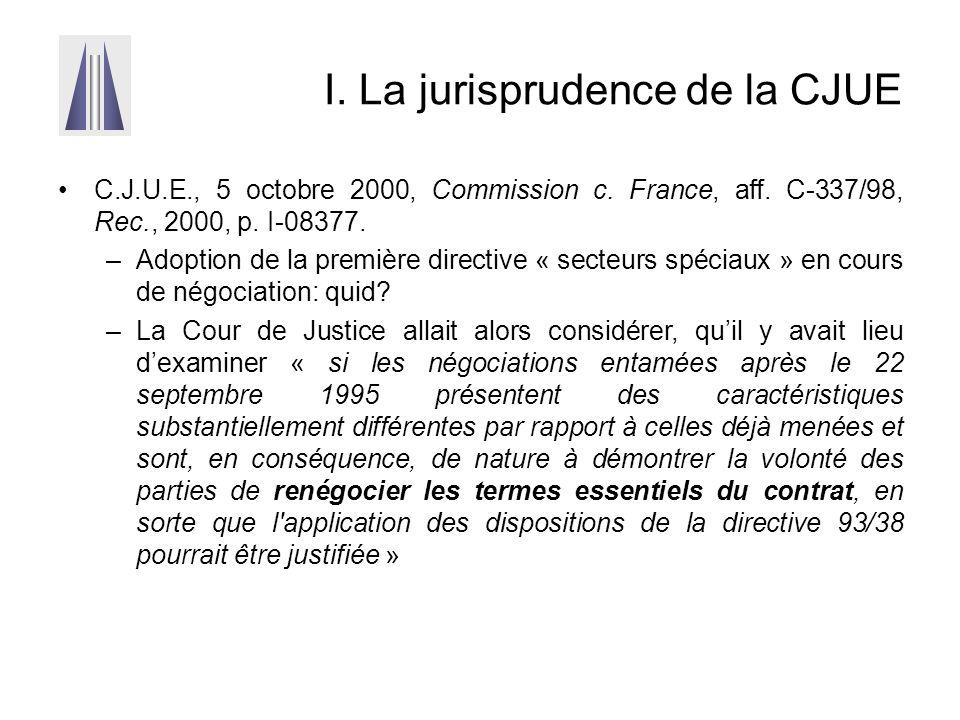 I. La jurisprudence de la CJUE C.J.U.E., 5 octobre 2000, Commission c. France, aff. C-337/98, Rec., 2000, p. I-08377. –Adoption de la première directi