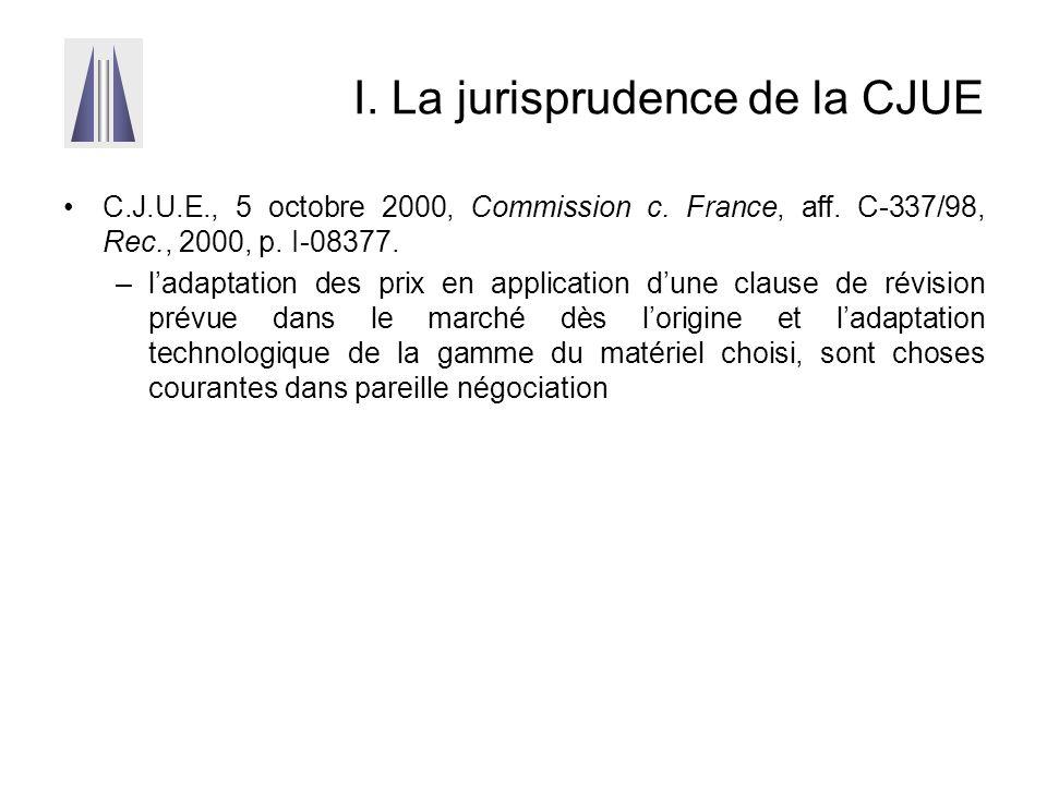 I. La jurisprudence de la CJUE C.J.U.E., 5 octobre 2000, Commission c. France, aff. C-337/98, Rec., 2000, p. I-08377. –l'adaptation des prix en applic