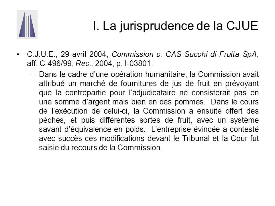 I. La jurisprudence de la CJUE C.J.U.E., 29 avril 2004, Commission c. CAS Succhi di Frutta SpA, aff. C-496/99, Rec., 2004, p. I-03801. –Dans le cadre