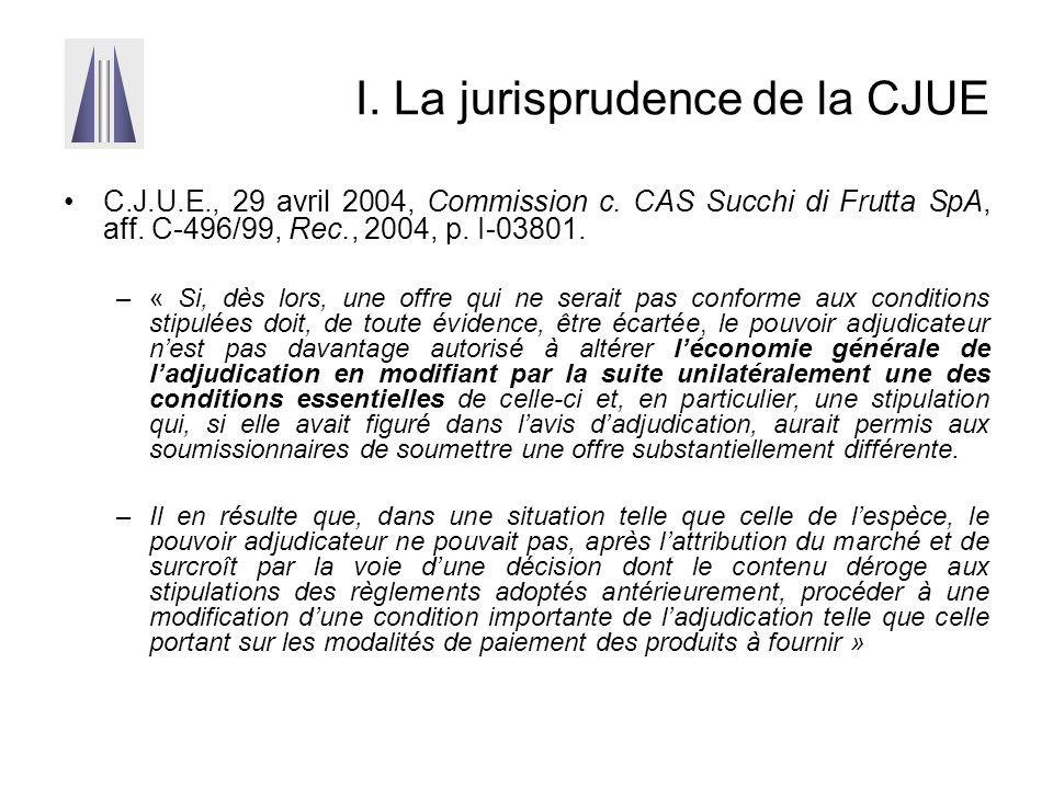I. La jurisprudence de la CJUE C.J.U.E., 29 avril 2004, Commission c. CAS Succhi di Frutta SpA, aff. C-496/99, Rec., 2004, p. I-03801. –« Si, dès lors