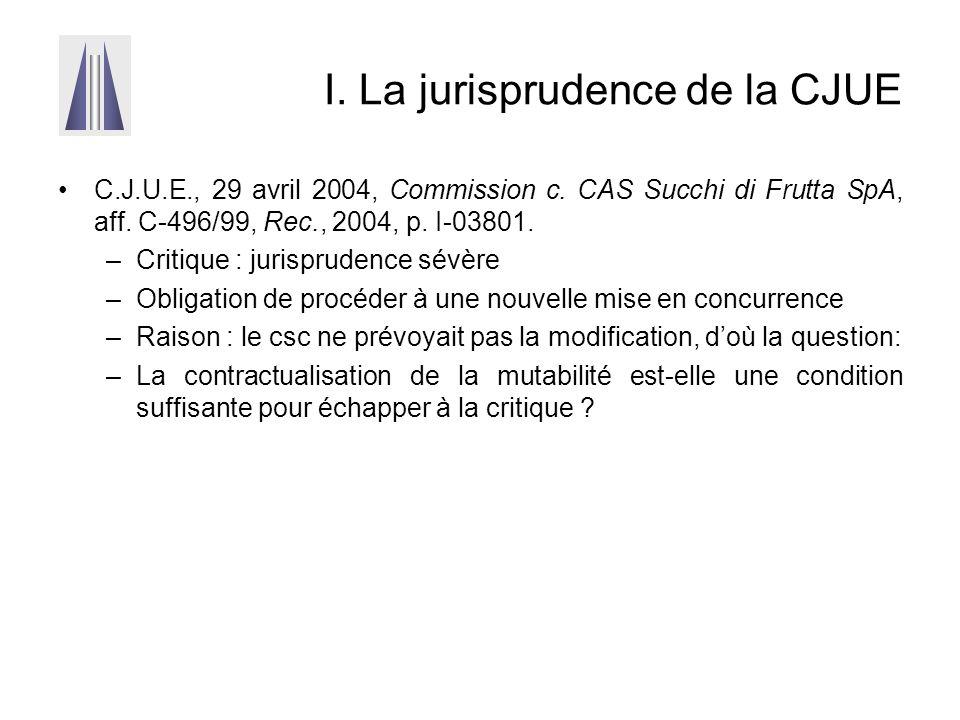 I. La jurisprudence de la CJUE C.J.U.E., 29 avril 2004, Commission c. CAS Succhi di Frutta SpA, aff. C-496/99, Rec., 2004, p. I-03801. –Critique : jur