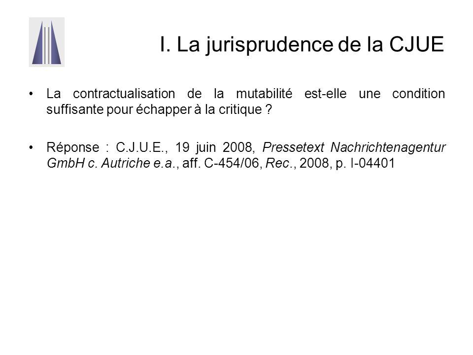 I. La jurisprudence de la CJUE La contractualisation de la mutabilité est-elle une condition suffisante pour échapper à la critique ? Réponse : C.J.U.