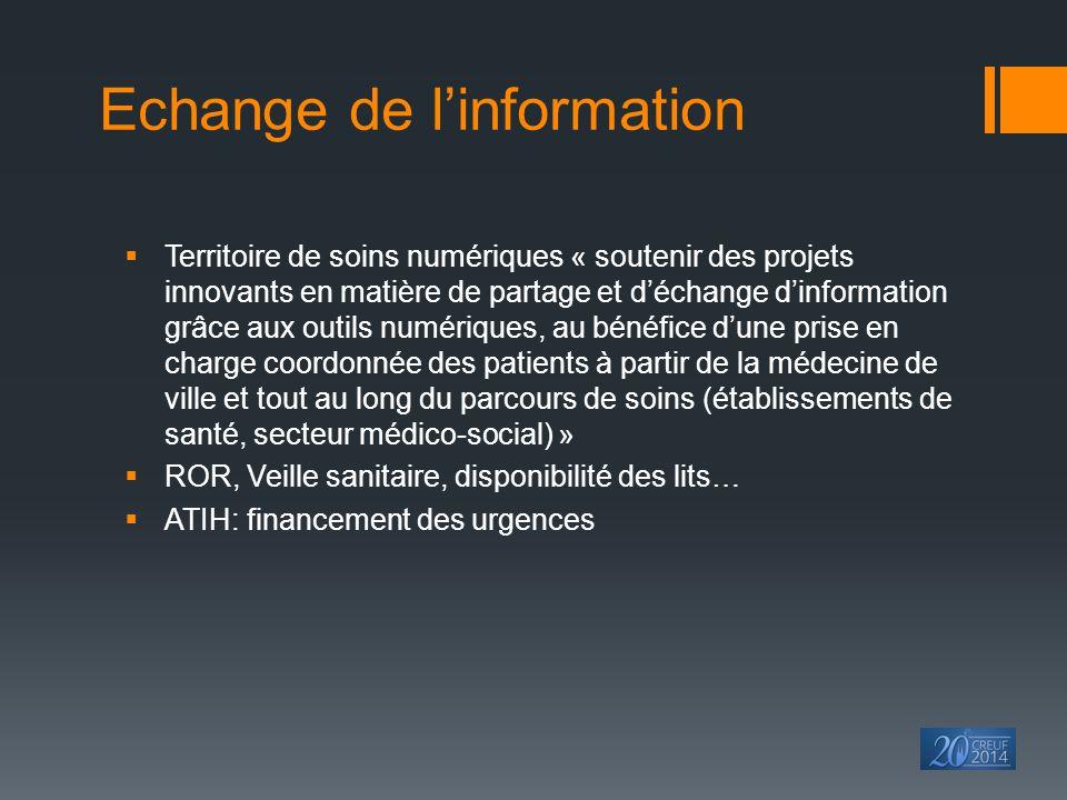 Echange de l'information  Territoire de soins numériques « soutenir des projets innovants en matière de partage et d'échange d'information grâce aux