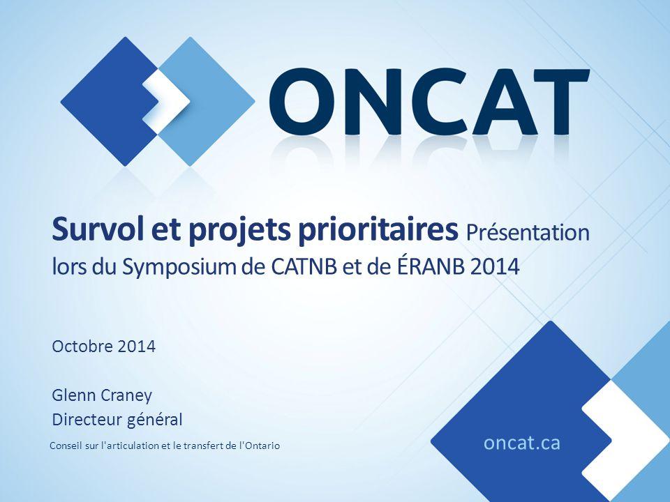 oncat.ca Conseil sur l'articulation et le transfert de l'Ontario Survol et projets prioritaires Présentation lors du Symposium de CATNB et de ÉRANB 20