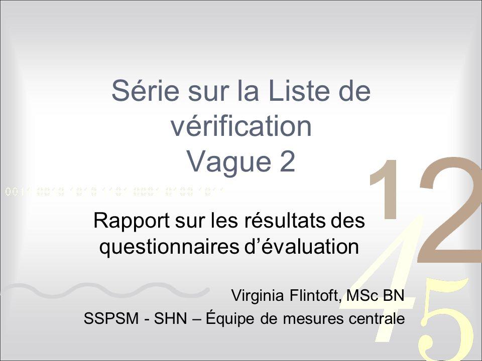 Série sur la Liste de vérification Vague 2 Rapport sur les résultats des questionnaires d'évaluation Virginia Flintoft, MSc BN SSPSM - SHN – Équipe de mesures centrale