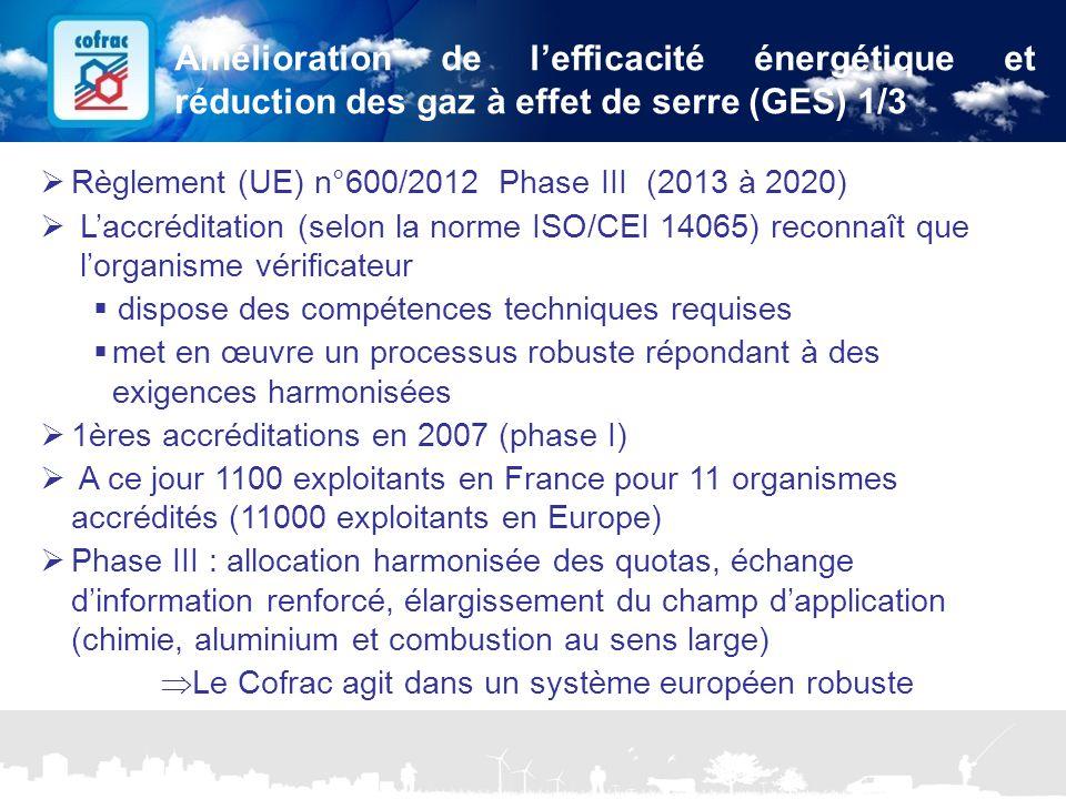 www.cofrac.fr 18 Projets Communication 2010/2011  Règlement (UE) n°600/2012 Phase III (2013 à 2020)  L'accréditation (selon la norme ISO/CEI 14065)