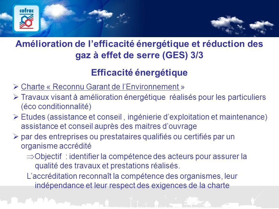 www.cofrac.fr 20 Projets Communication 2010/2011 Amélioration de l'efficacité énergétique et réduction des gaz à effet de serre (GES) 3/3 Efficacité é