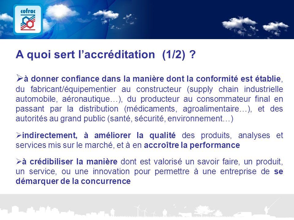 www.cofrac.fr 6 Projets Communication 2010/2011 A quoi sert l'accréditation (1/2) ?  à donner confiance dans la manière dont la conformité est établi