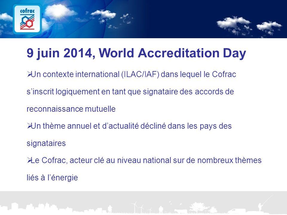 www.cofrac.fr 9 Projets Communication 2010/2011 9 juin 2014, World Accreditation Day  Un contexte international (ILAC/IAF) dans lequel le Cofrac s'in
