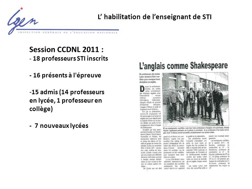 L' habilitation de l'enseignant de STI Session CCDNL 2011 : - 18 professeurs STI inscrits - 16 présents à l épreuve -15 admis (14 professeurs en lycée, 1 professeur en collège) - 7 nouveaux lycées