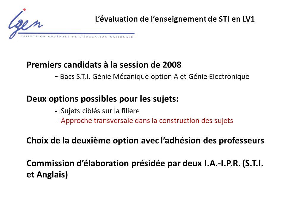 L'évaluation de l'enseignement de STI en LV1 Premiers candidats à la session de 2008 - Bacs S.T.I.