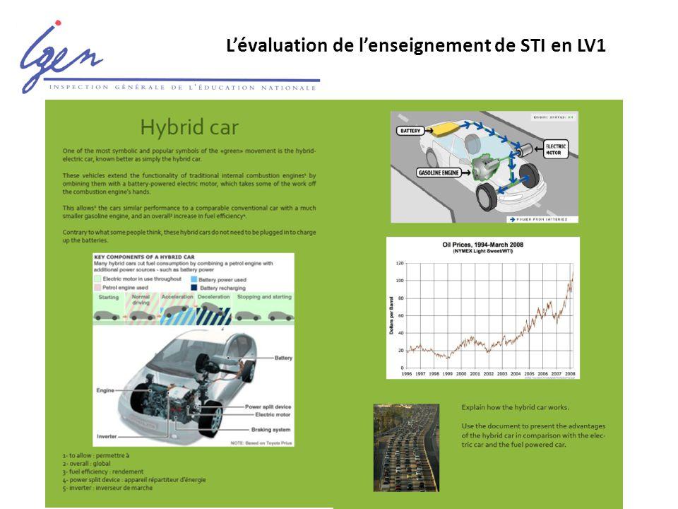 L'évaluation de l'enseignement de STI en LV1 Un sujet pertinent