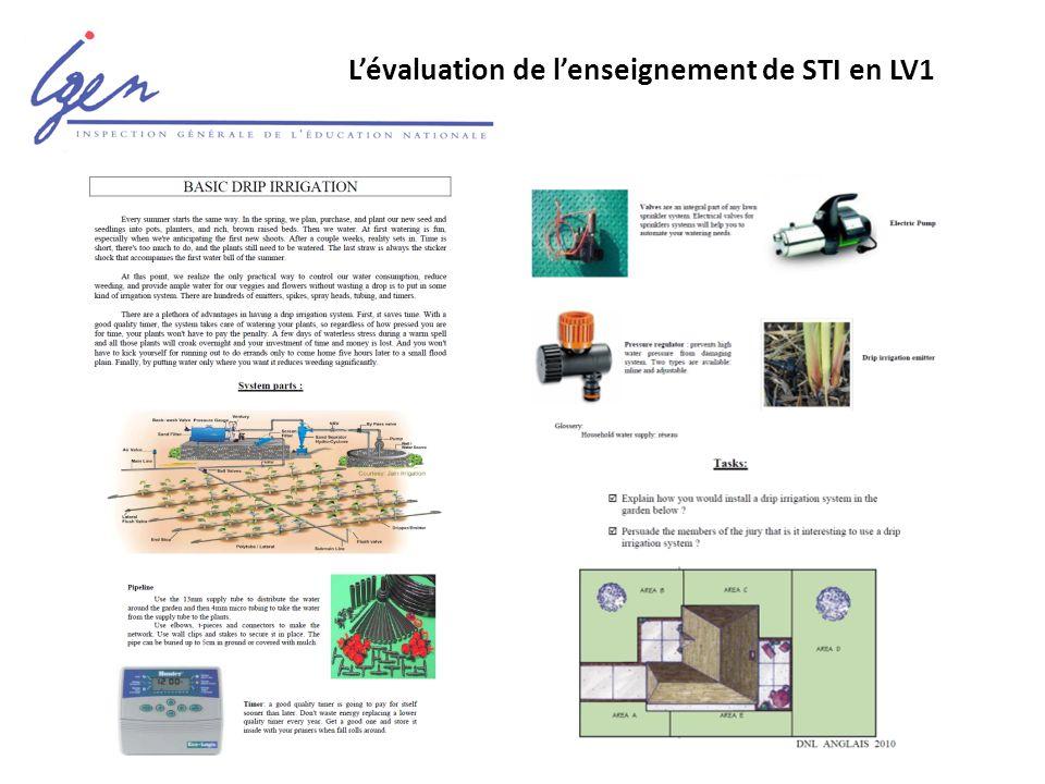 L'évaluation de l'enseignement de STI en LV1