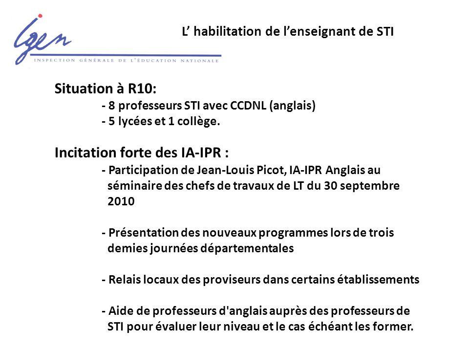 L' habilitation de l'enseignant de STI Situation à R10: - 8 professeurs STI avec CCDNL (anglais) - 5 lycées et 1 collège.