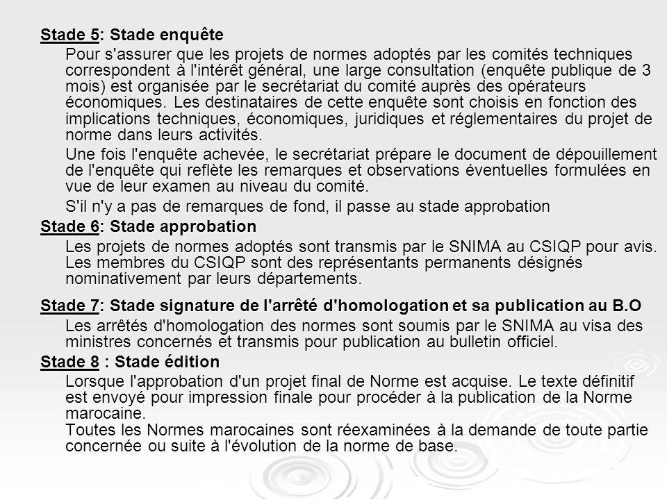Stade 5: Stade enquête Pour s'assurer que les projets de normes adoptés par les comités techniques correspondent à l'intérêt général, une large consul