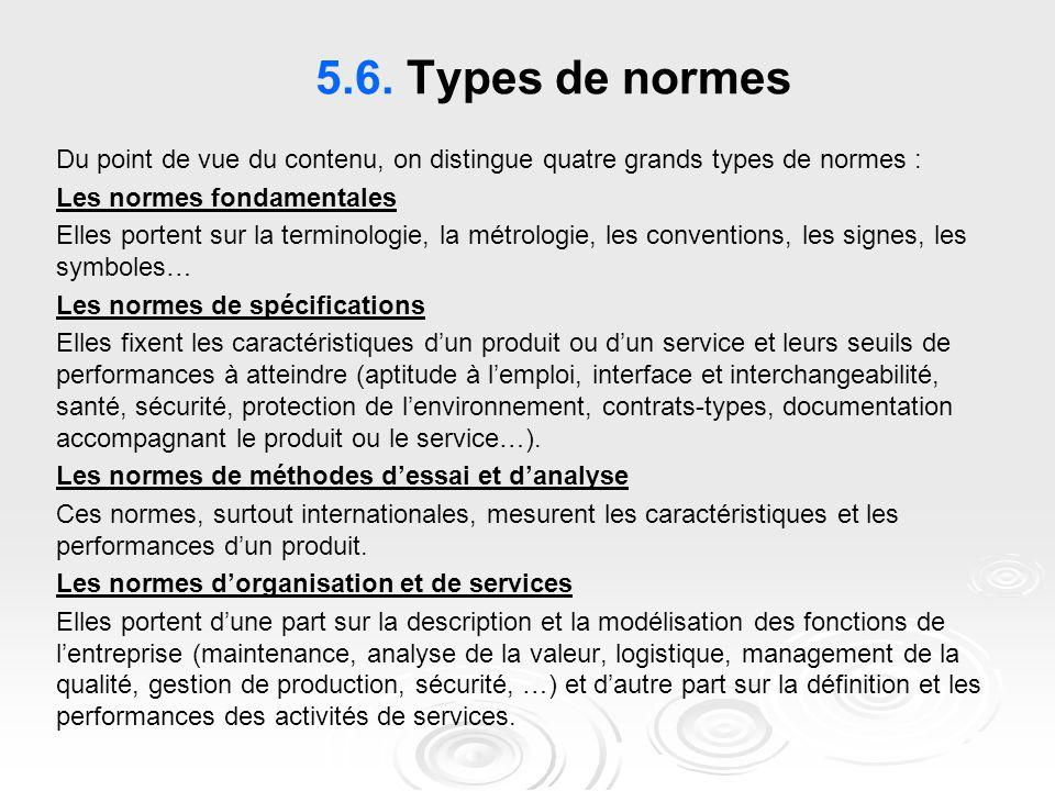 5.6. Types de normes Du point de vue du contenu, on distingue quatre grands types de normes : Les normes fondamentales Elles portent sur la terminolog