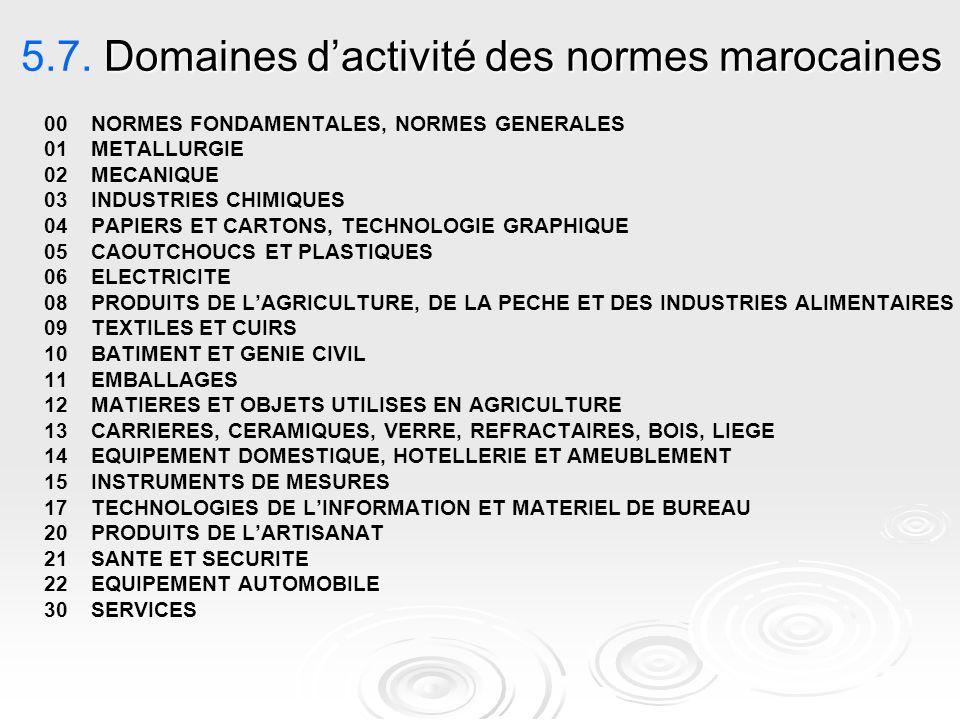 Domaines d'activité des normes marocaines 5.7. Domaines d'activité des normes marocaines 00 NORMES FONDAMENTALES, NORMES GENERALES 01METALLURGIE 02MEC