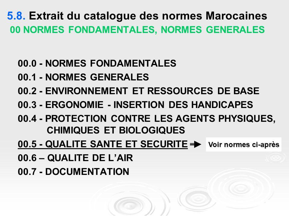 5.8. Extrait du catalogue des normes Marocaines 00 NORMES FONDAMENTALES, NORMES GENERALES 00.0 - NORMES FONDAMENTALES 00.1 - NORMES GENERALES 00.2 - E