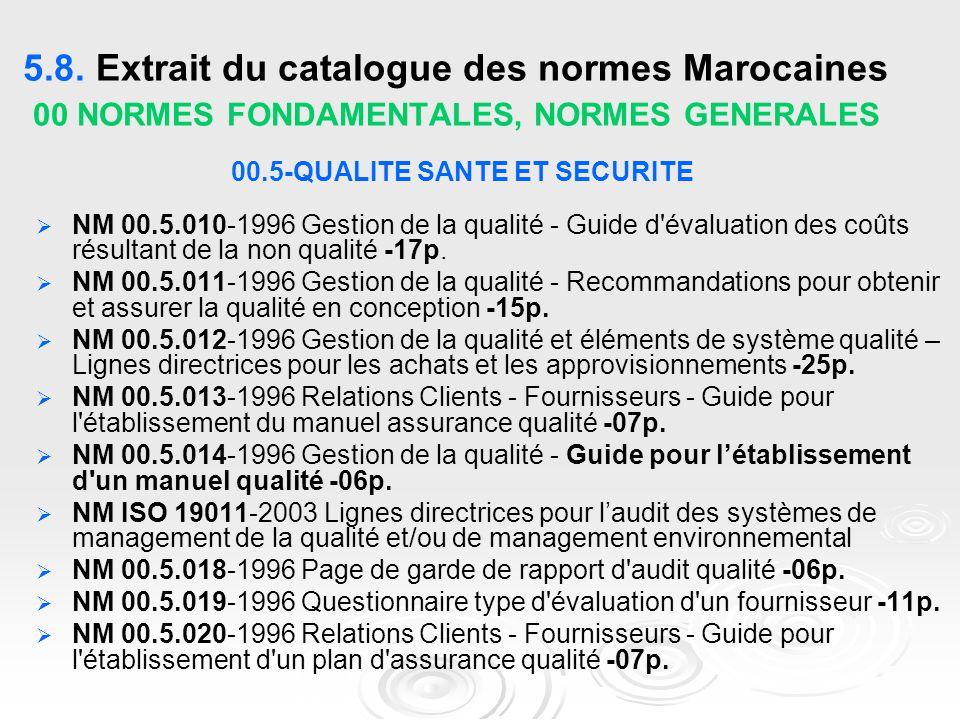 5.8. Extrait du catalogue des normes Marocaines 00 NORMES FONDAMENTALES, NORMES GENERALES 00.5-QUALITE SANTE ET SECURITE   NM 00.5.010-1996 Gestion
