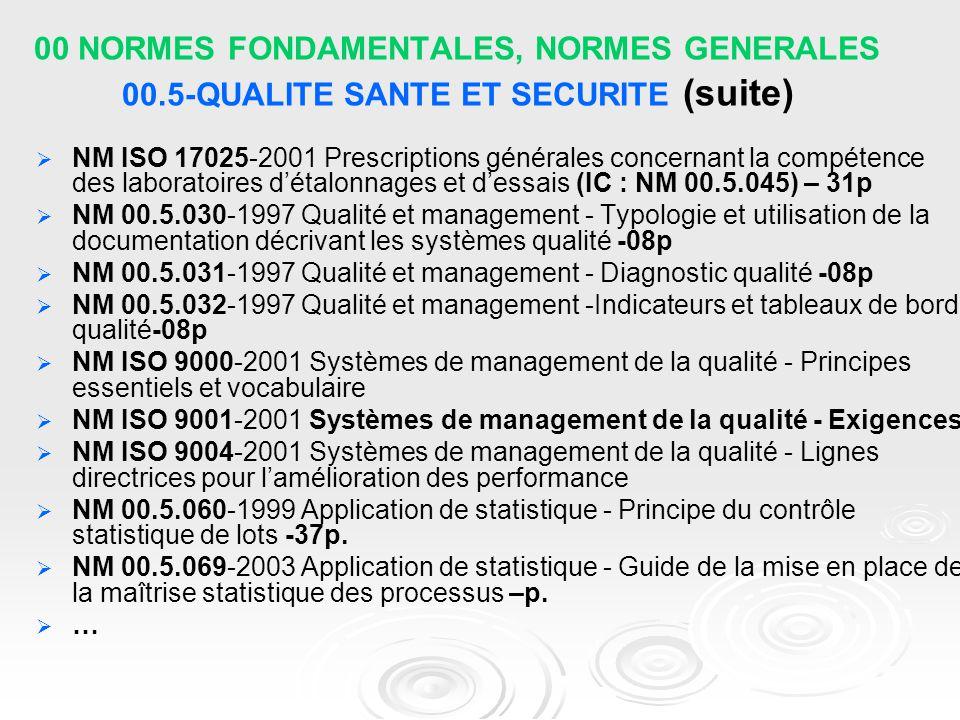 00 NORMES FONDAMENTALES, NORMES GENERALES 00.5-QUALITE SANTE ET SECURITE (suite)   NM ISO 17025-2001 Prescriptions générales concernant la compétenc