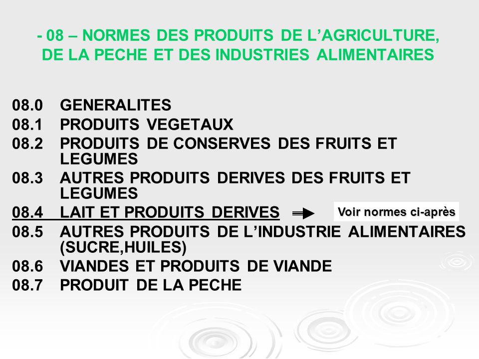 - 08 – NORMES DES PRODUITS DE L'AGRICULTURE, DE LA PECHE ET DES INDUSTRIES ALIMENTAIRES 08.0 GENERALITES 08.1 PRODUITS VEGETAUX 08.2 PRODUITS DE CONSE