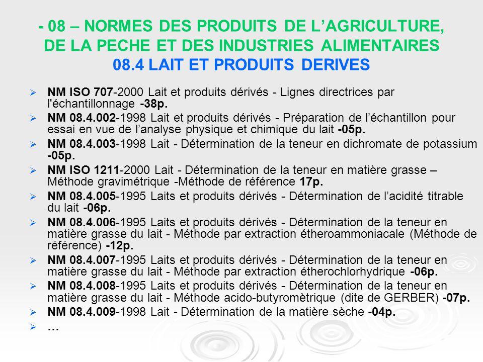 - 08 – NORMES DES PRODUITS DE L'AGRICULTURE, DE LA PECHE ET DES INDUSTRIES ALIMENTAIRES 08.4 LAIT ET PRODUITS DERIVES   NM ISO 707-2000 Lait et prod