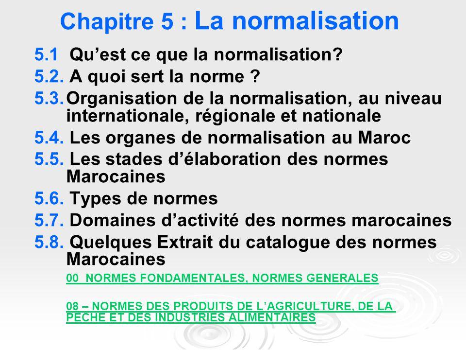 Chapitre 5 : La normalisation 5.1 Qu'est ce que la normalisation? 5.2. A quoi sert la norme ? 5.3.Organisation de la normalisation, au niveau internat