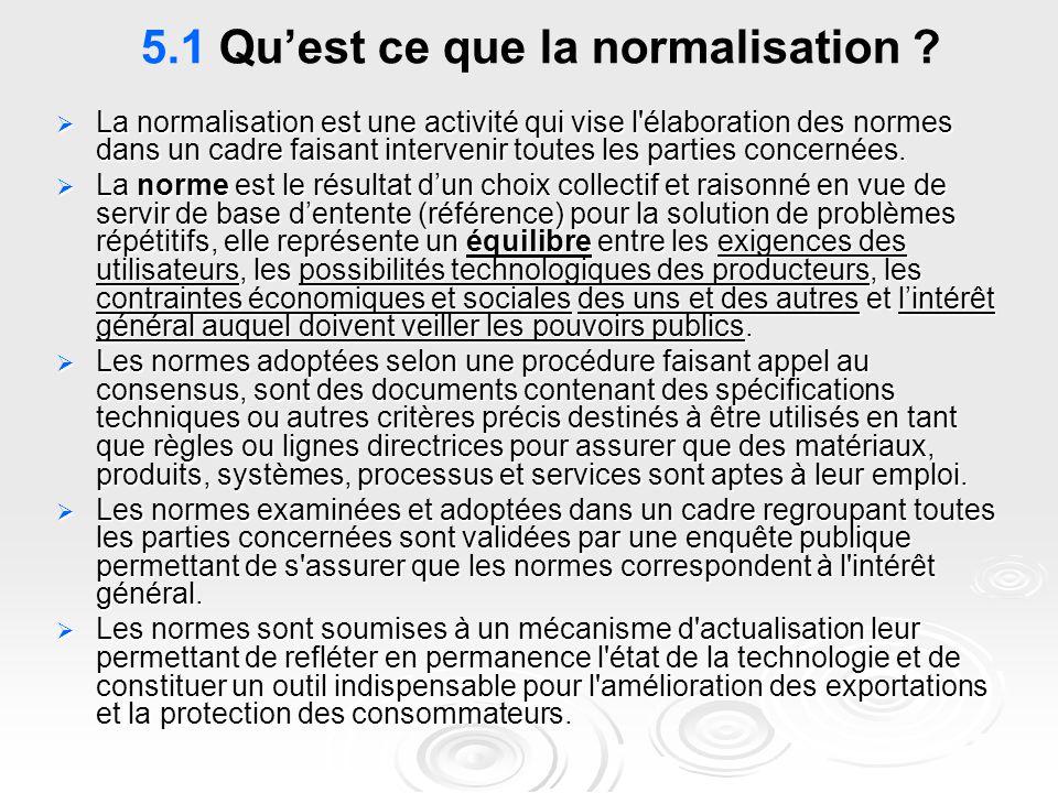 5.1 Qu'est ce que la normalisation ?  La normalisation est une activité qui vise l'élaboration des normes dans un cadre faisant intervenir toutes les