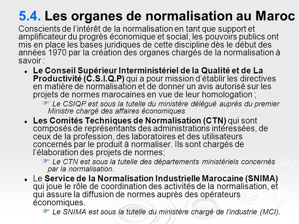 5.4. Les organes de normalisation au Maroc Conscients de l'intérêt de la normalisation en tant que support et amplificateur du progrès économique et s