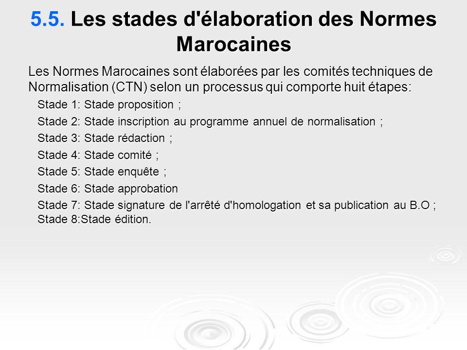stades d'élaboration des Normes Marocaines 5.5. Les stades d'élaboration des Normes Marocaines Les Normes Marocaines sont élaborées par les comités te