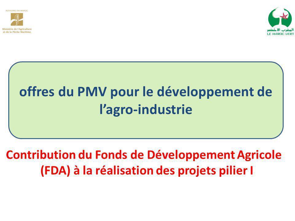 offres du PMV pour le développement de l'agro-industrie Contribution du Fonds de Développement Agricole (FDA) à la réalisation des projets pilier I