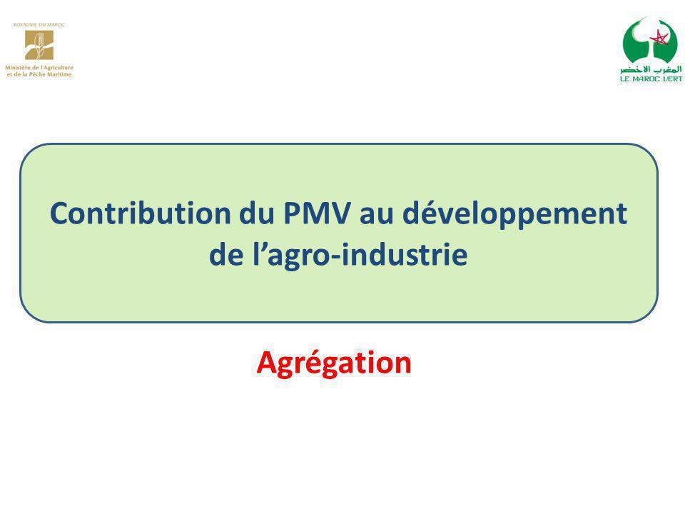 Contribution du PMV au développement de l'agro-industrie Agrégation