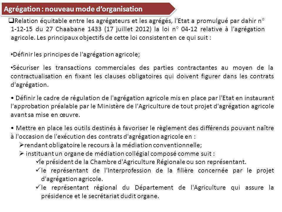 Définir les principes de l agrégation agricole; Sécuriser les transactions commerciales des parties contractantes au moyen de la contractualisation en fixant les clauses obligatoires qui doivent figurer dans les contrats d agrégation.