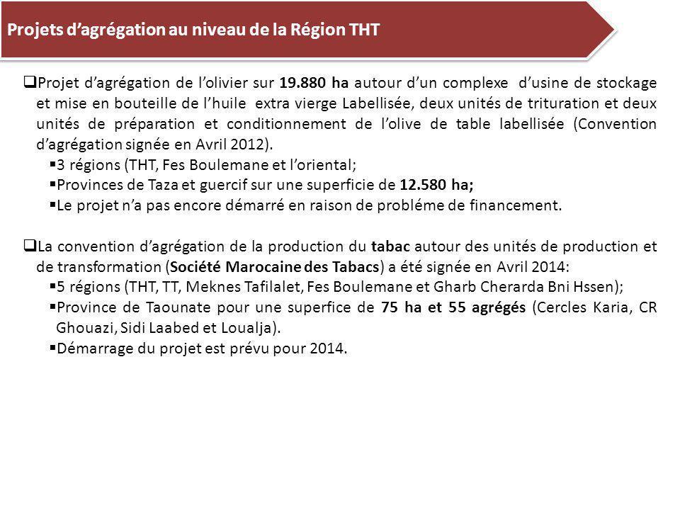  Projet d'agrégation de l'olivier sur 19.880 ha autour d'un complexe d'usine de stockage et mise en bouteille de l'huile extra vierge Labellisée, deux unités de trituration et deux unités de préparation et conditionnement de l'olive de table labellisée (Convention d'agrégation signée en Avril 2012).