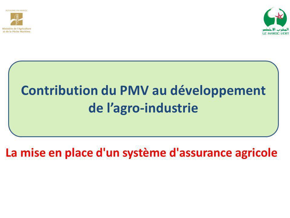 Contribution du PMV au développement de l'agro-industrie La mise en place d un système d assurance agricole