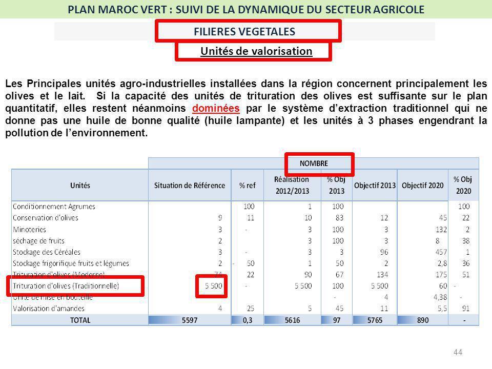 44 PLAN MAROC VERT : SUIVI DE LA DYNAMIQUE DU SECTEUR AGRICOLE FILIERES VEGETALES Unités de valorisation Les Principales unités agro-industrielles installées dans la région concernent principalement les olives et le lait.