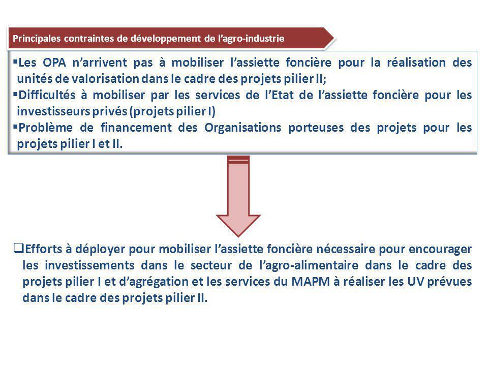 49 Principales contraintes de développement de l'agro-industrie  Les OPA n'arrivent pas à mobiliser l'assiette foncière pour la réalisation des unités de valorisation dans le cadre des projets pilier II;  Difficultés à mobiliser par les services de l'Etat de l'assiette foncière pour les investisseurs privés (projets pilier I)  Problème de financement des Organisations porteuses des projets pour les projets pilier I et II.