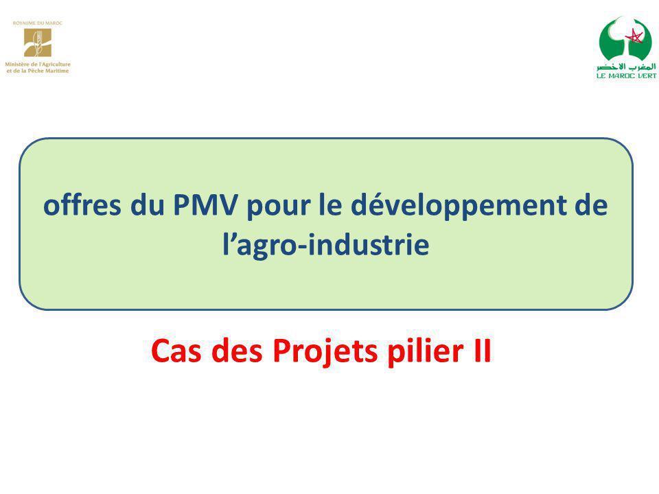 offres du PMV pour le développement de l'agro-industrie Cas des Projets pilier II
