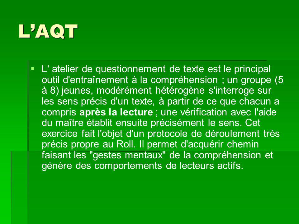 L'AQT   L' atelier de questionnement de texte est le principal outil d'entraînement à la compréhension ; un groupe (5 à 8) jeunes, modérément hétéro