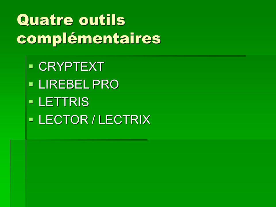 Quatre outils complémentaires  CRYPTEXT  LIREBEL PRO  LETTRIS  LECTOR / LECTRIX